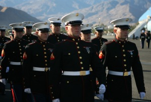 Members of the Armed Forces Honor Guard march in unison during the departure ceremony for former president Gerald R. Ford in Palm Springs, Calif., Dec. 30, 2006.  DoD personnel are helping to honor Ford, the 38th president of the United States, who passed away on Dec. 26th. Ford's remains will be flown to Washington, D.C., for a state funeral in the Capitol Rotunda and a funeral service at the Washington National Cathedral, followed by burial services in Michigan.  (U.S. Marine Corps photo by Cpl. AlecKleinsmith) (Released)